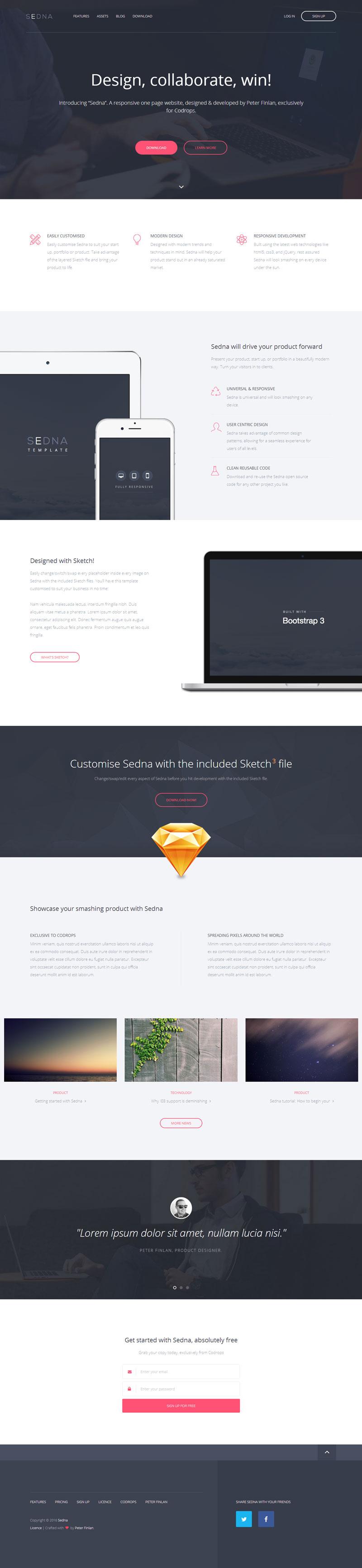 html5响应式扁平化公司企业网站单页模板