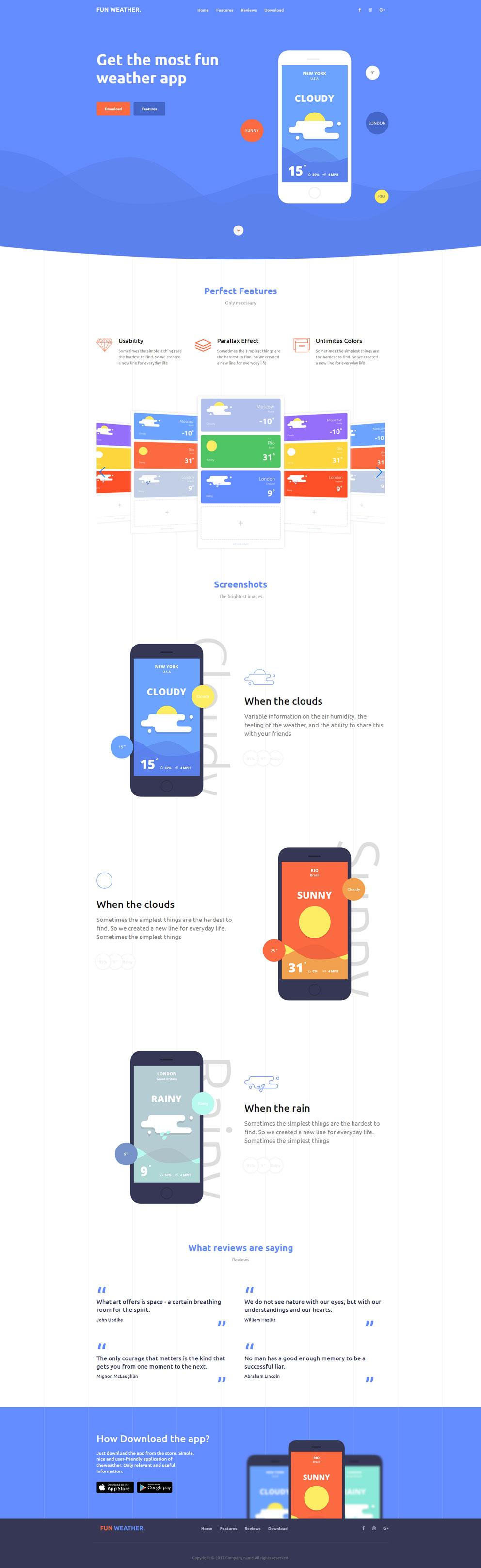 响应式app应用专题类单页面网站模板